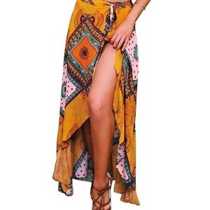 Boho style wrap maxi skirt size S